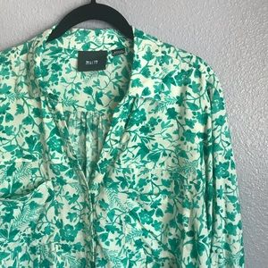 Anthropologie Maeve Green Floral Islet Blouse Top